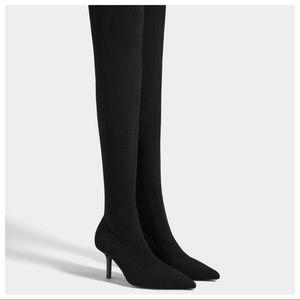 NWT. Bershka Black boots/stiletto heels. Size 8.